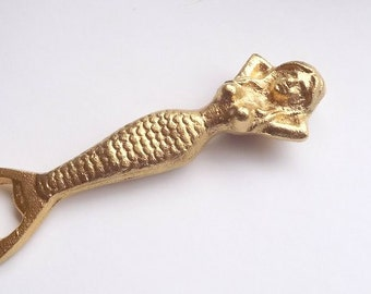 Mermaid Bottle Opener Gold Cast Iron