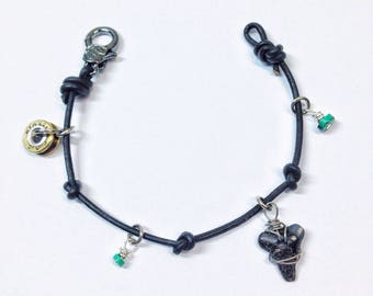 Bullet sharktooth charm bracelet with turquoise stones