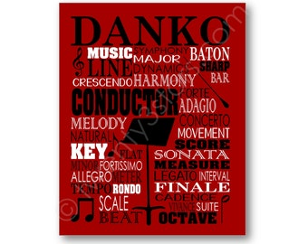 Conductor Typography Poster, Band Conductor Gift, Music Wall Art, Band Teacher Gift, Music Director Gift, Orchestra Conductor Canvas Art