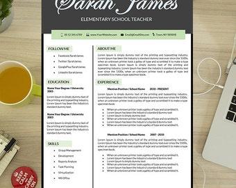 Teaching Resume, Resume Teacher, Elementary, Instant Download, 2 Page CV,  Educator