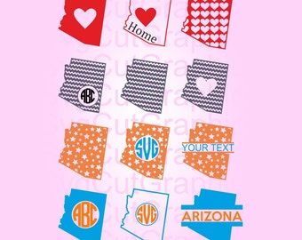 Arizona SVG Files, Svg Monogram, SVG Cutting Files, Vinyl Cut File, Svg Monogram Frames, Silhouette SVG Files, Cricut Svg Files