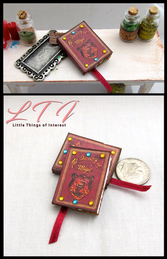 DISCOVERY OF MAGIC Dollhouse Miniature Book 1:12 Scale Prop Faux Magic Spell Book Wizard Fortune Teller Gypsy Potter Sabrina Teenage Witch