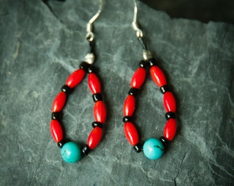 Jewelry for Bema Almond Shaped Coral,Turquoise with Black Beads Earrings