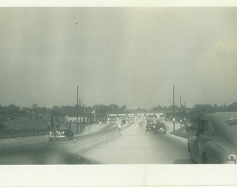 1940s Cars Driving on Highway Turnpike Toll Booth 40s Vintage Photograph Black White Photo