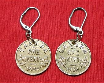 1934 real Canadian 1934 as earrings