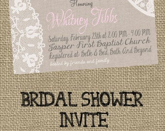 Lace and Linen Bridal Shower Invite!!!!!!