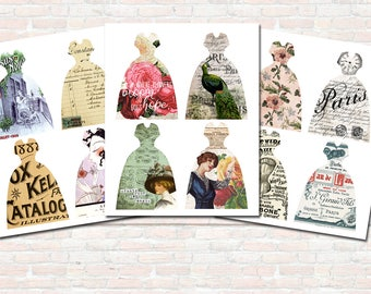 Dressform Printable Tags Collage Sheet for Junk Journals Scrapbooks Gift Tags Party Favors Romantic Shabby Chic Vintage Ads Women Digital