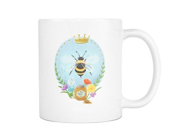 Queen Bee Honey Bumble Bee Wreath Wildflower White Ceramic Mug