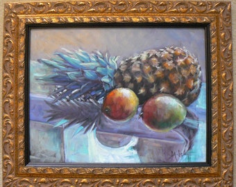"Pineapple Still Life, Original Oil Painting, 14x18"" Oil Painting, Custom Frame,  Ready to Hang"