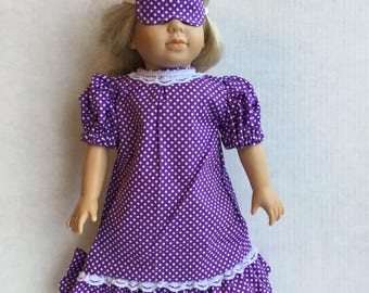 """Nightgown with eye mask for 18"""" doll."""