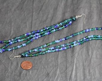 Turquoise Dangle Seed Bead Earrings