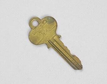 Antique Brass Key, Atlas Key, Flat Key, Ornate Key, Necklace Key, Steampunk Supply, Jewelry Key, Shadow Box Key, Vintage Key, Old Key  B4