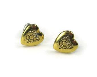 Vintage Embossed Heart Stud Earrings