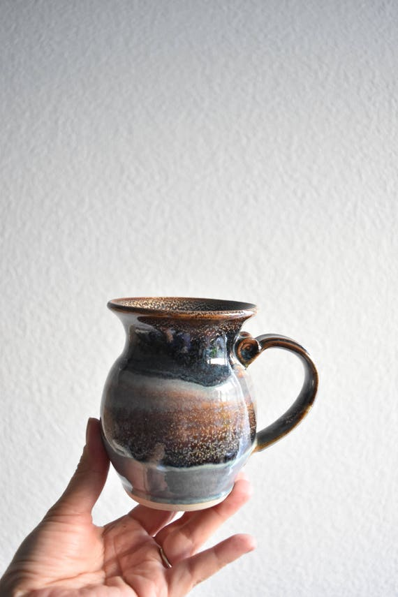speckled blue brown purple stoneware coffee mug