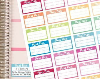 Meal Plan Planner Stickers - Half Box - Fits Erin Condren Planner and The Happy Planner