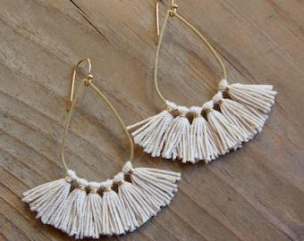 Tassel Teardrop Earrings, Fringe Earrings, Natural Fiber