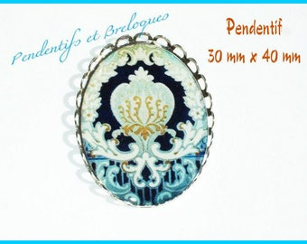 Large pendant 40 mm x 30 mm resin Cabochon