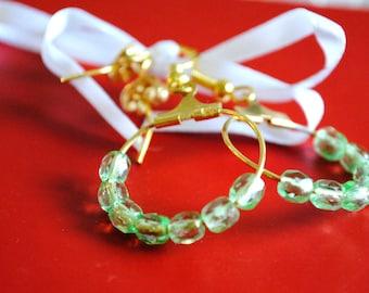 Vintage Green Glass Bead Earrings