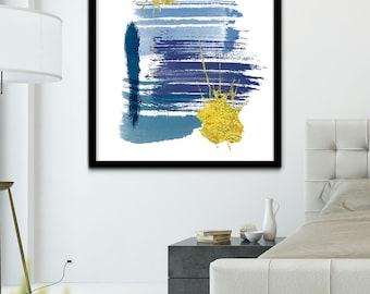 Indigo Abstract Brush Stroke Art, Modern Art Prints, Abstract Prints, Abstract Wall Art, Gold and Navy Brushstroke Wall Art Printable