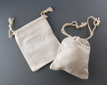 Beige Cotton Gift Bags - 3 inch x 4 inch -  Light colored fabric Favor bag - 10 peices