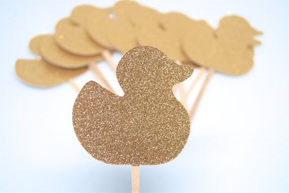 Rubber Duck, Cupcake Toppers, Gold Glitter,Baby Shower,Baby Shower ...