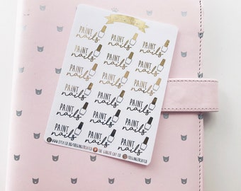 FOIL Paint Nails Planner Stickers | for use with erin condren, Kikki k, Filofax, bullet journal, beauty stickers, salon stickers