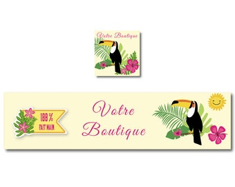 Etsy banner, banner, shop, Toucan and tropical leaves