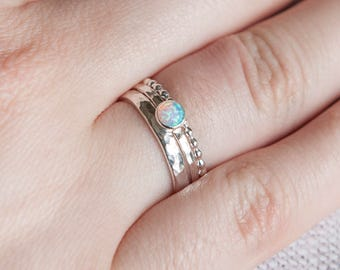 Opal ring,  October birthstone sterling silver ring, Opal stackable ring, October Jewellery, White Opal, UK jewellery, UK rings