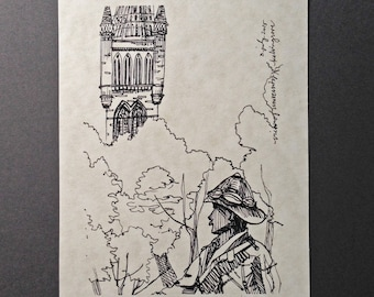 sketchbook print - Glasgow Kelvingrove Park view of University 5x7 digital print