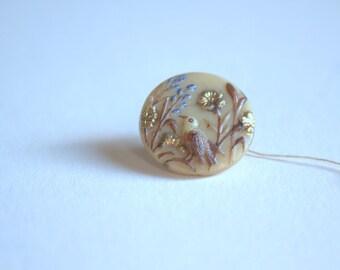 Antique Bird Glass Button