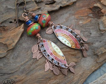 Painted Copper Shields Ice Resin and Lampwork Earrings