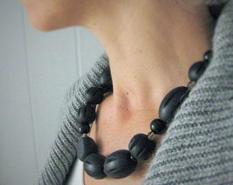 Chunky Black Necklace, Black Beaded Necklace, Sterling Silver Clasp, NB 1086 V2