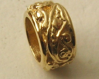 Genuine SOLID 9K 9ct YELLOW GOLD Charm Serenity Ornate Bead