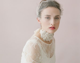 Bridal bandeau veil - Rhinestone adorned tulle bandeau veil - Style 425 - Ready to Ship