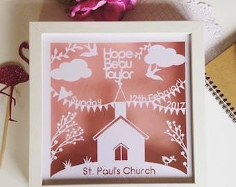 Personalised Christening gift, baptism gift, christening papercut, christening frame, church papercut, floating frame, box frame, new baby