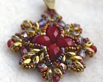 Aina - DIY tutorial for a pendant with Super Duo and Firepolished beads