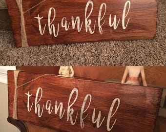 Thankful Wood Sign with Twine