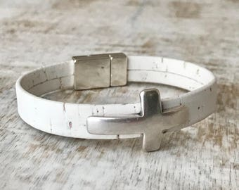 White Cross Bracelet, Cork Bracelet, Cross Bracelet, Stackable Bracelet, Magnetic Clasp