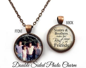 Sister Brother Jewelry - Double Sided Personalized Photo Necklace - Custom Picture Jewelry - Sister Necklace Brother Wedding Gift
