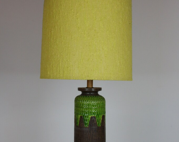 Mid Century Modern Italian BITOSSI Style STIFFEL Table LAMP Brown to Green with Original Shade