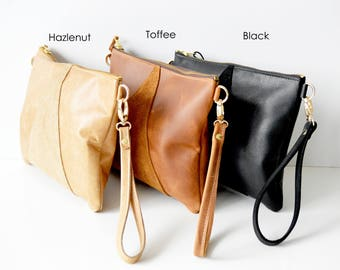 Leather crossbody bag / Leather Wristlet  / Leather clutch / Leather bag / Leather purse / Geometric leather bag  / Choose your colour