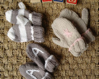 Easy baby & toddler mitten knitting pattern / Kids mittens / PDF download / Beginner knitting pattern / Mitten with thumb / Baby mittens