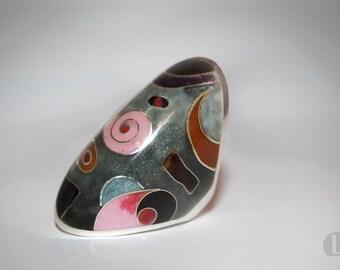 Silver Cloisonne Enamel Ring. Colorful rings, Cloisonne ring, Colorful jewelry, wide pink ring, abstract, Hot Enamel, trendy jewelry, art