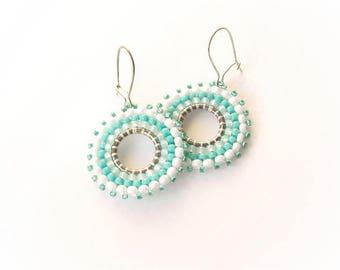 Beadwork Turquoise Hoop Earrings, Beaded Bead Earrings, Seed Bead Round Earrings, sea water earrings, marine, round earrings