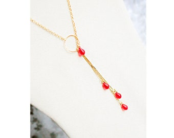 gold red necklace gift for girlfriend gold pendant necklace bohemian jewelry for wife statement original cascade long necklace д4