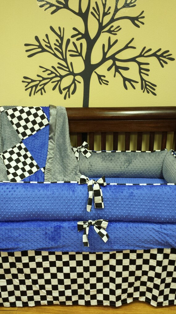 Checkered Flag Crib Set You Design Several Colors Available