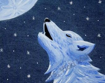 Wolf Decor, Wolf wall Art, Wolf painting, howling wolf, wolf art, original painting, denim decor, denim wall art, denim wolf, Item #LLB-O1