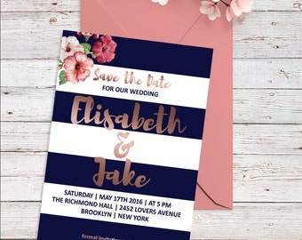 Rose Gold Save The Date Card Watercolor Save the Date Boho Save the Date Printable Floral Save The Date Navy & Pink Wedding Invitation Boho