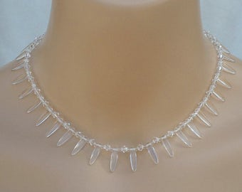 N7 Spike Drop Crystal Wedding Necklace USA Ladybead Clear Crystal Also available with Swarovski Pearl choice of color.