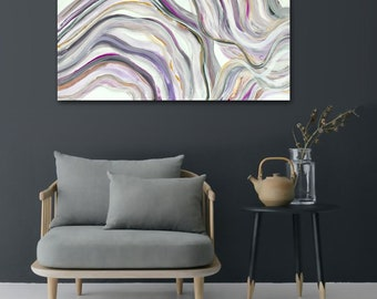 """Original abstract painting - purple lavender grey - flowing feminine - dreamy - ethereal - wavy - acrylic on canvas - 18""""x36"""""""